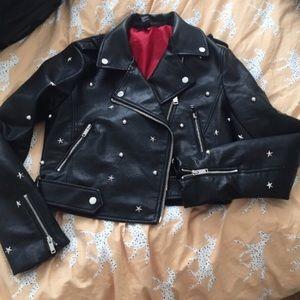 Star studded leather jacket